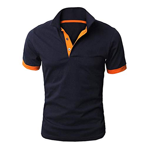 TANGSen Men's Personality Short Sleeve Shirts Summer Fashion Casual Solid Color Pullovers Shirt Classic Polo Shirt Navy
