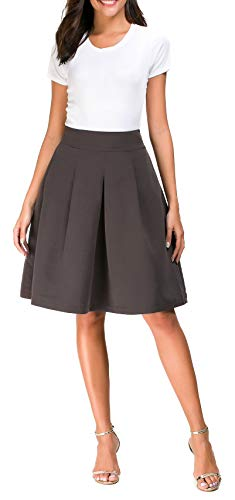 High Boots Knee Skirts (Pytha Sight Womens Brown High Waist Midi Skirt with Rubber Band Aine Shape Skirt for Women Faux Suede Ladies Pleated Flared Knee Length Skirt with Pockets for Boots(Brown,XS))
