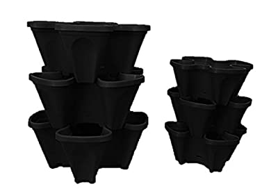Large 5 Tier Vertical Garden Tower - 5 Black Stackable Indoor / Outdoor Hydroponic and Aquaponic Planters
