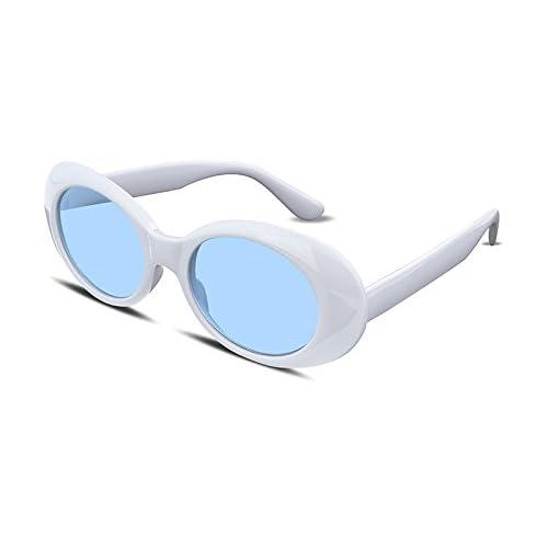 FEISEDY Clout Goggles Kurt Cobain Sunglasses Acetate White Frame Blue Lens B2253
