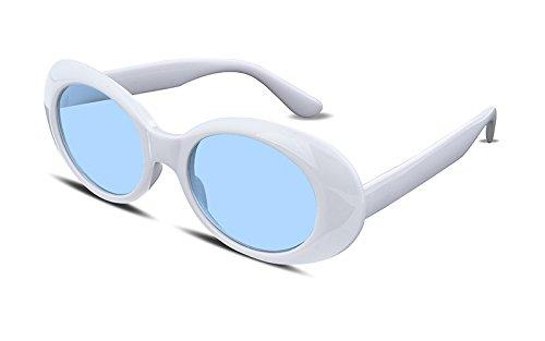 FEISEDY Clout Goggles Kurt Cobain Sunglasses Acetate White Frame Blue Lens - Blue Lenses White With Sunglasses