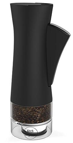 One Handed Salt or Pepper Mill - Modern Design with Adjustable Ceramic Grinder Mechanism for different Coarseness