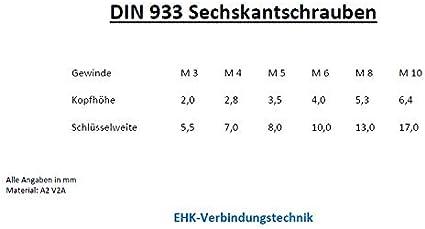 M8x18 10 St. Sechskantschrauben//Maschinenschrauben DIN 933 Edelstahl V2A M5//M6//M8 //// EHK-Verbindungstechnik