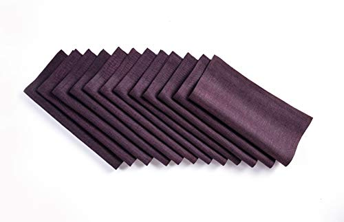 Solino Home Linen Cocktail Napkin - 9 x 9 Inch, Set of 12-100% Natural Fabric Handcrafted Machine Washable Athena - Purple