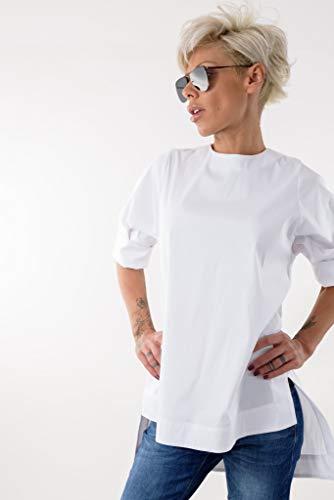 (LOCKERROOM Snow White Cotton Blouse Women White Asymmetric Tunic Shirt)