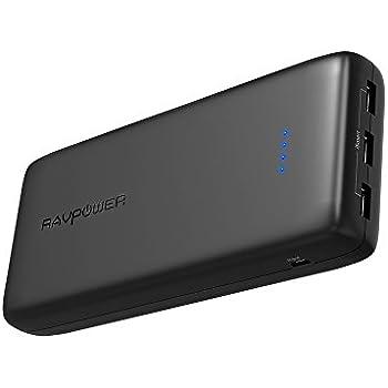 Power Banks RAVPower 32000mAh 6A Output Portable Charger, External Battery Pack (3-Port, 2.4A Input, Triple iSmart 2.0 USB, High-Density Li-Polymer Battery)