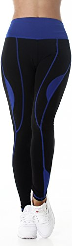 BOXIN Mujer Leggings Pantalones de fitness deportes yoga largo alta cintura de alta cintura Negro (34–�?0) Azul