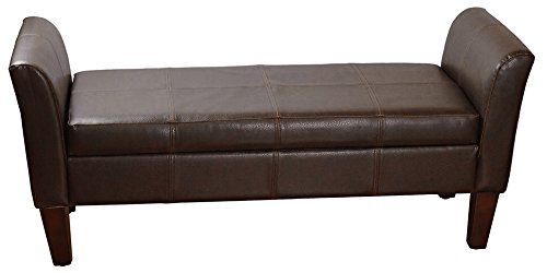 HomePop Leatherette Armed Storage Bench with Hinged Lid, Brown (Cherry Two Seat Bench)
