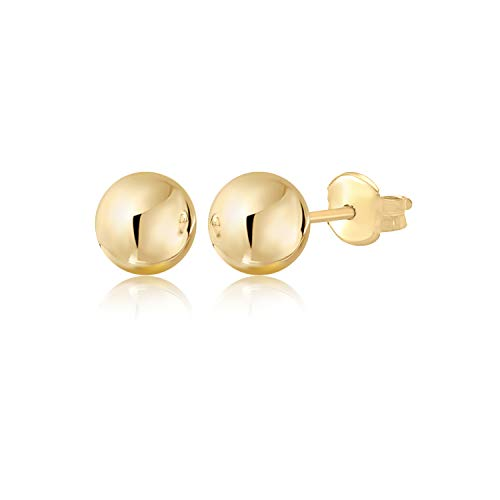 (MASSETE 14K Yellow Gold Polished Stud Ball Earrings)