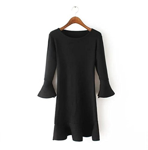 Ladies ' slim solid color t Horn sleeves fishtail dresses, knitted wild , black