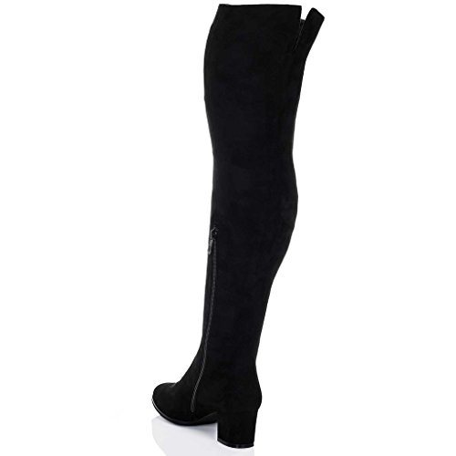 Knee Heel SPYLOVEBUY Style Women's ATOMA Tall Over Suede Boots Block Black qtAXFwPA