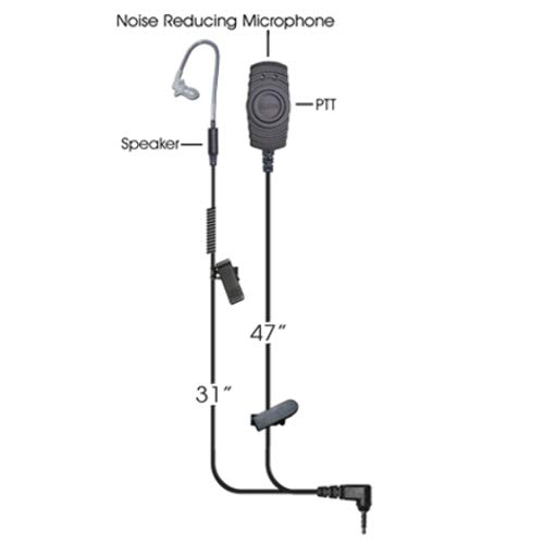 Klein Victory 2-Wire Surveillance Earpiece Headset for Push To Talk Over Cellular POC Twisted Pair Motorola Wave IOS Android