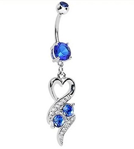 Navel Dangle Butterfly (Power Wing Belly Button Rings Dangle Sexy Heart Butterfly Infinity Set Surgical Steel 14G Navel Rings Jewelry for Women (Heart))