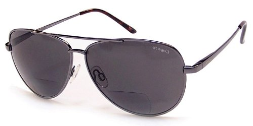 Coyote BP12 Polarized Bifocal Safety Sunglasses with a Traditional Aviator Design for Youthful and Active Men and Women (Gun - Coyotes Sunglasses