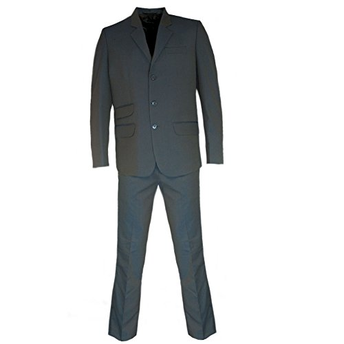 Mod Star - Relco Mens Tonic Green/Gold Classic Retro Single Breasted Mod Suit 42R/36R