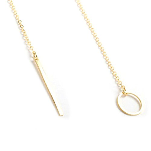 Stylish Women Jewelry Contracted Metal Ring Stick Pendant Golden Short Necklace