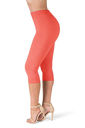SATINA High Waisted Ultra Soft Capris Leggings - 20 Colors - Reg & Plus Size (One Size, Neon Coral)