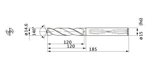 15 mm Shank Dia. 2.7 mm Point Length 14.6 mm Cutting Dia Internal Coolant Mitsubishi Materials MWS1460LB MWS Series Solid Carbide Drill 5 mm Hole Depth