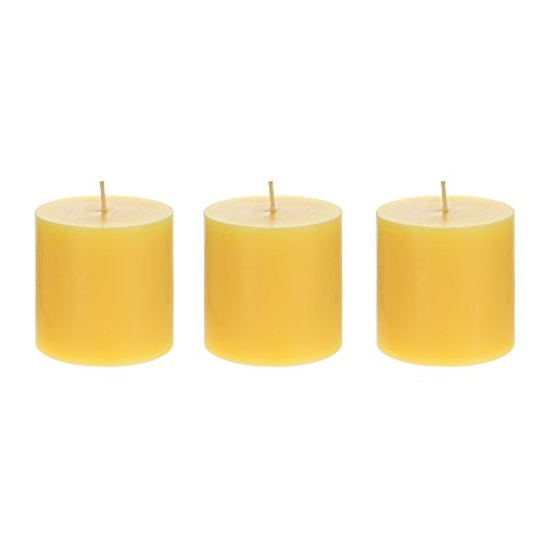 Mega Candles 3 pcs Citronella Round Pillar Candle | Hand Poured Paraffin Wax Candles 3
