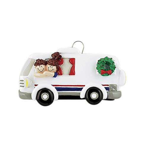 Personalized RV Couple Christmas Tree Ornament 2019 - Brunette Campers Ride Together Wreath Recreation Vehicle Trail Away Hobby Motor-Home Birthday Holiday Tradition Year Friend - Free Customization