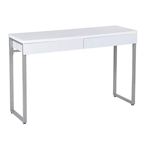 GreenForest Makeup Vanity Table 47'' Gloss White ConsoleTable Computer Desk with 2 Small Drawers and Solid Metal Legs for Living Room Entryway -