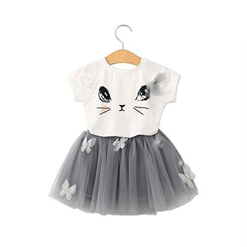 Creazrise Kids Girls Cat Pattern Short Sleeve Shirt Top Butterfly Lace Tutu Skirt Set Clothing White
