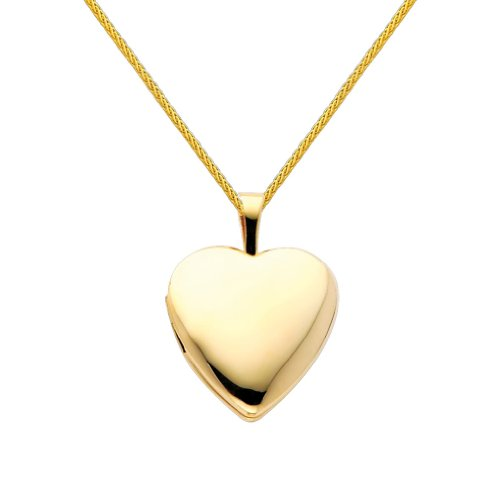 Wellingsale 14k Yellow Gold Polished Heart Locket Pendant with 0.9mm Braided Wheat Chain Necklace - 22