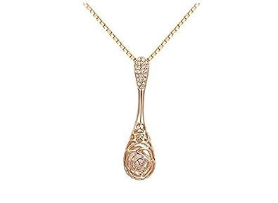 b13ff36bae6a hanessa Mujer de joyas de oro Collar de cadena colgante de gotas de color  rosa de