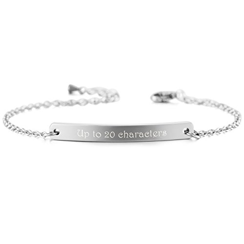 Customized Silver Bracelets (MeMeDIY Silver Tone Stainless Steel Bracelet Link Adjustable - Customized Engraving)