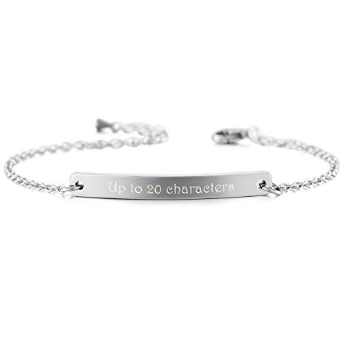 MeMeDIY Stainless Steel Bracelet Link Adjustable - Customized Engraving
