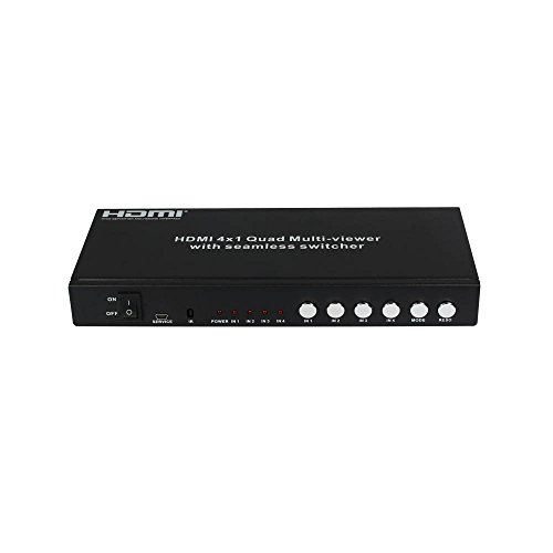 Eazy2hD HDMI 4X1 Quad Multi-Viewer Seamless Switcher with Receiver Extend Signal 50M Over Cat5e/cat6 Cable Compliant with HDMI 1.3a (Matrix Cctv Switcher)