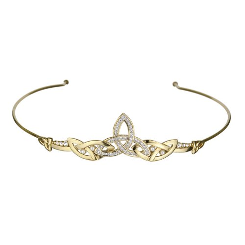 Celtic Tiara Trinity Knot Gold Plated Crystal Irish Made by Tara
