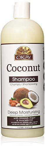 OKAY | Coconut Shampoo | For All Hair Types & Textures | Strengthen, Replenish Moisture & Elasticity | With Almond, Argan & Avocado Oil | Free of Parabens, Silicones, Sulfates | 33 oz ()