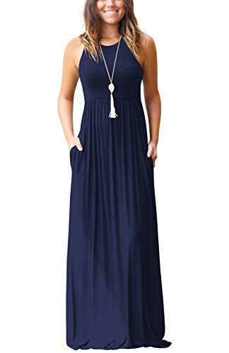 SVALIY Summer Womens Sleeveless Tunic Causal Long Maxi Beach Dresses with Pockets Dark Blue XL