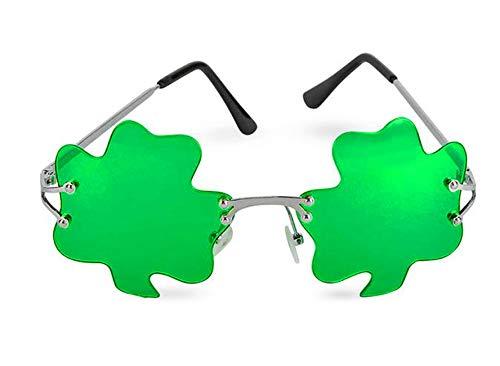 St. Patrick's Day Shamrock Leaves glasses, Irish Clover Sunglasses, Bright Green, By 4E's Novelty -
