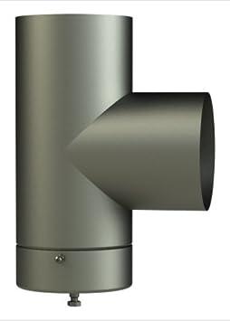 Cañas de humos y fumistería Línea Leña: conector hembra a hembra, diámetro 120 mm, acero barnizado, con tapón recoge condensación.