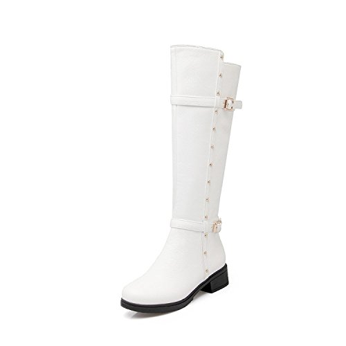 Las mujeres acogedor alta botas de caballero con zapatos de otoño e invierno white