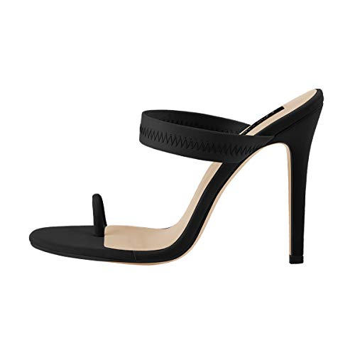 Onlymaker Women's Fashion Strappy High Heel Mules Sandals with Toe Ring Pointy Open Toe Slipper Black Size - Toe Ring Black