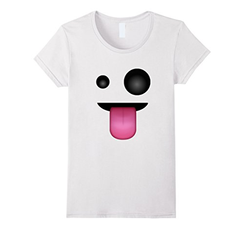Womens Ghost Face Costume (Womens Ghost Face Emoji Costume T-Shirt for Halloween Medium White)