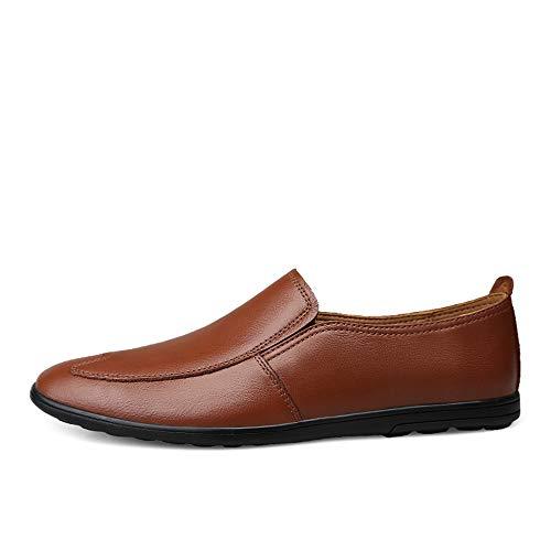 De Clásicos Conducen Los Zapatos Genuino Punta Deslizamiento Que Informal Relieve Y Hombres Liviano Mocasines Marrón Con Cuero En Redonda Transpirable d5wXn1CqEx