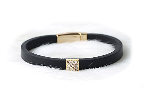 oz-oz Girls Womens Natural Leather Stone Pendant Bangle Bracelets (Black) (Leather Min Stone)