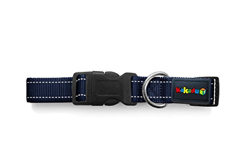 "Empire Tracks Adjustable Nylon Dog Collar by Kakadu Pet, Large, 1"" x 16-24"", Marine (Blue with White Stitch)"