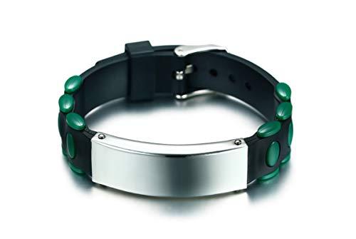 Beydodo Silicone Bracelet for Men Bracelets Stainless Steel Couples Metal Tag Wristband 8 inch by Beydodo