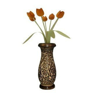 Carved Black Table Dining (Handmade Wooden Flower Vase Carving Work, Flower Vase Outdoor, Flower Vase For Dining Table, Wooden Flower Vase, Black Color Beautifully Crafted Size 10 X 4 Inch)