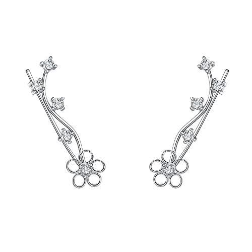 EleQueen 925 Sterling Silver Full Cubic Zirconia Flower Ear Crawlers Sweep Cuff Hook Earrings 1 Pair
