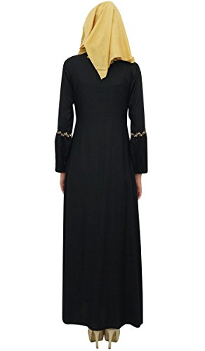 Black Bimba Mädchen Muslim Hijab Arbeit Aari Frauen Abaya Jilbab islamischem 54 Kleid mit wqwE6Zr