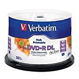 Verbatim R Inkjet Hub Printable DVD+R DL Spindle, White, Pack Of 50