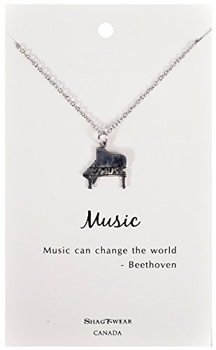 Shagwear Dream and Music Inspirations Quote Pendant Necklace (Piano Music Pendant) (Pendant Piano)