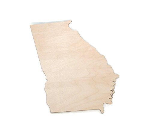 "Gocutouts Georgia State 6"" Cutout Unfinished Package of 6 Wooden Baltic Birch 1/8 Cutout USA Made (Georgia)"