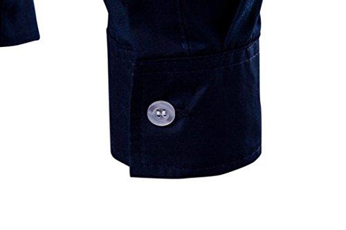 Slim de Navy Aimee7 Fit Solid de Irregular hombre Top Camisa Casual manga Funky Tops larga TT8RF1cZ